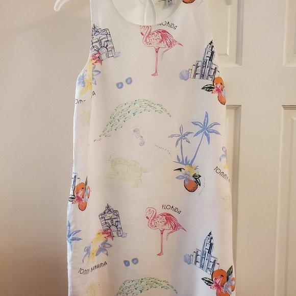 Tommy Bahama white Florida print linen dress - M